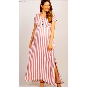 New PInkBlush Striped Button Front Maternity Maxi